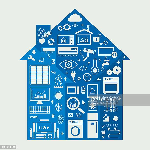 home automation icons set - energy efficient stock illustrations, clip art, cartoons, & icons