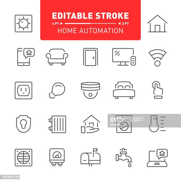 home automation icons - bed furniture stock illustrations