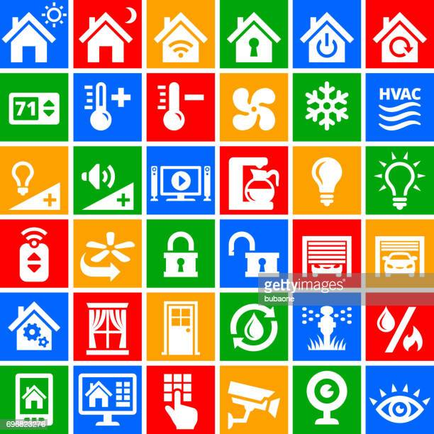 Home Automation royalty free vector interface icons in color