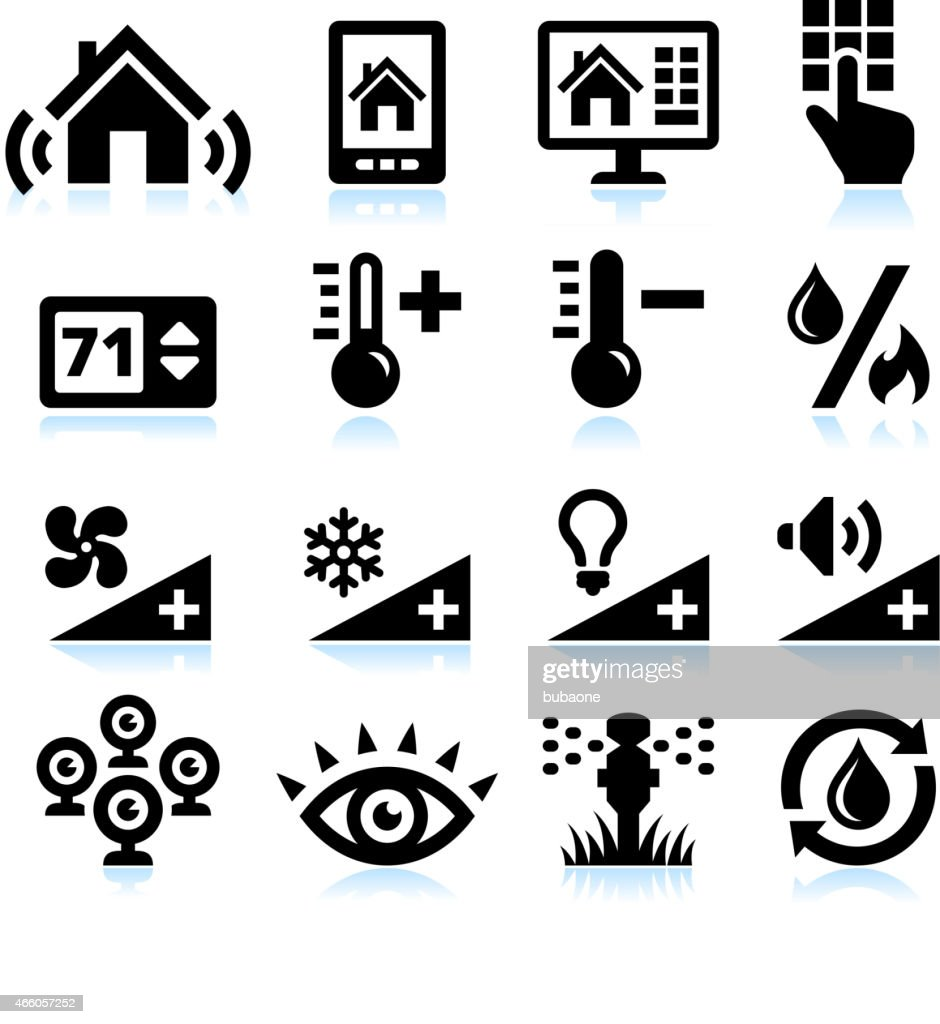 Home Automation Security and Temperature interface icons on White Background