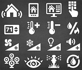 Home Automation Security and Temperature interface vector icon set
