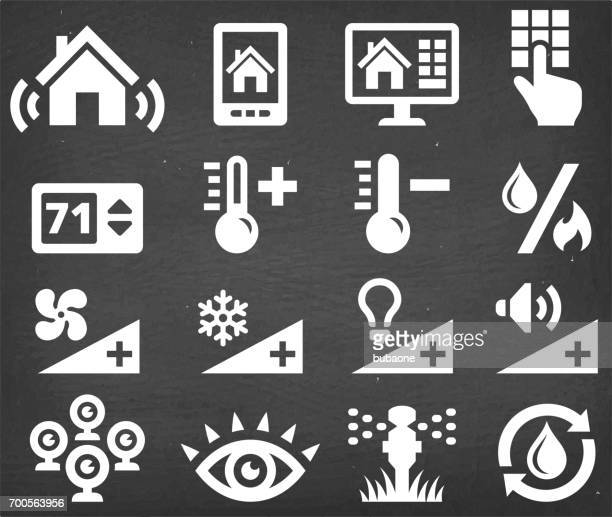 home automation security and temperature interface vector icon set - temperature stock illustrations, clip art, cartoons, & icons