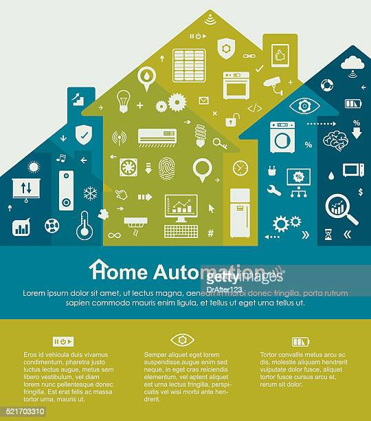 home automation template with copy space text - blinds stock illustrations, clip art, cartoons, & icons