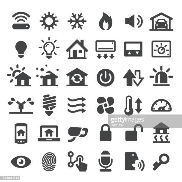 home automation vector icons - temperature stock illustrations