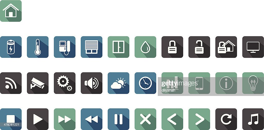 home automation,smart home long shadow icon set