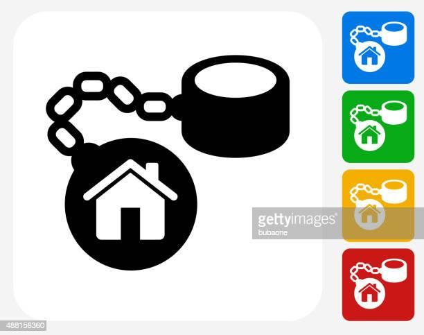 ilustraciones, imágenes clip art, dibujos animados e iconos de stock de casa bola de hierro y cadena de iconos planos de diseño gráfico - bola de hierro y cadena