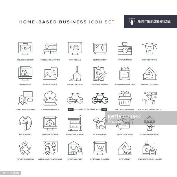 home based business editable stroke line icons - child care stock illustrations