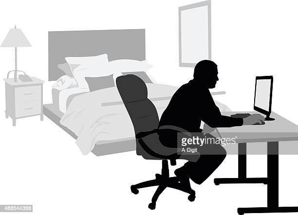 home bedroom office - bedroom stock illustrations, clip art, cartoons, & icons