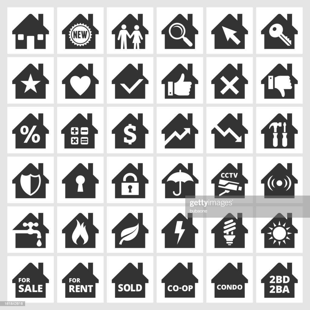 Home black & white royalty free vector icon set