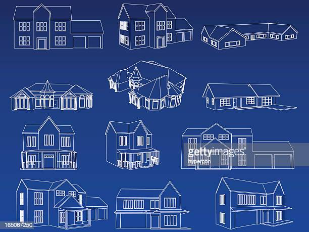home blueprint collection - bungalow stock illustrations, clip art, cartoons, & icons