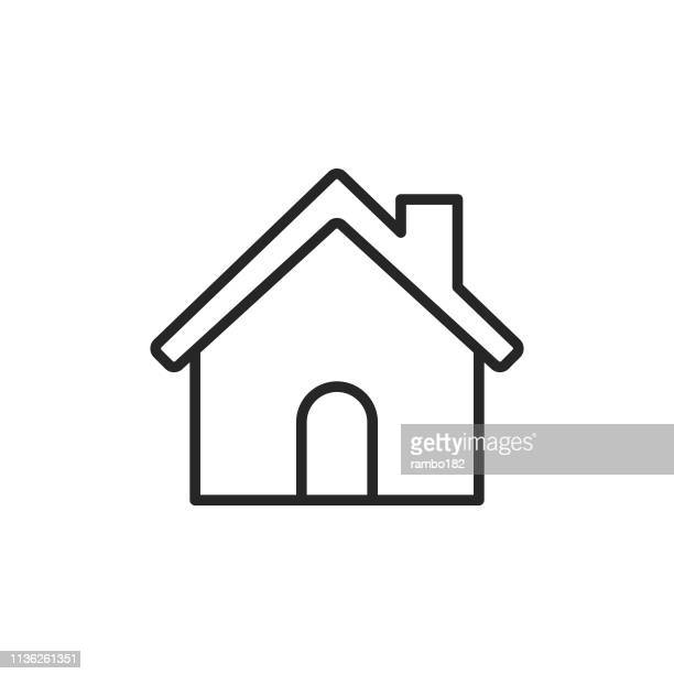 home building line icon. editable stroke. pixel perfect. for mobile and web. - finance and economy stock illustrations