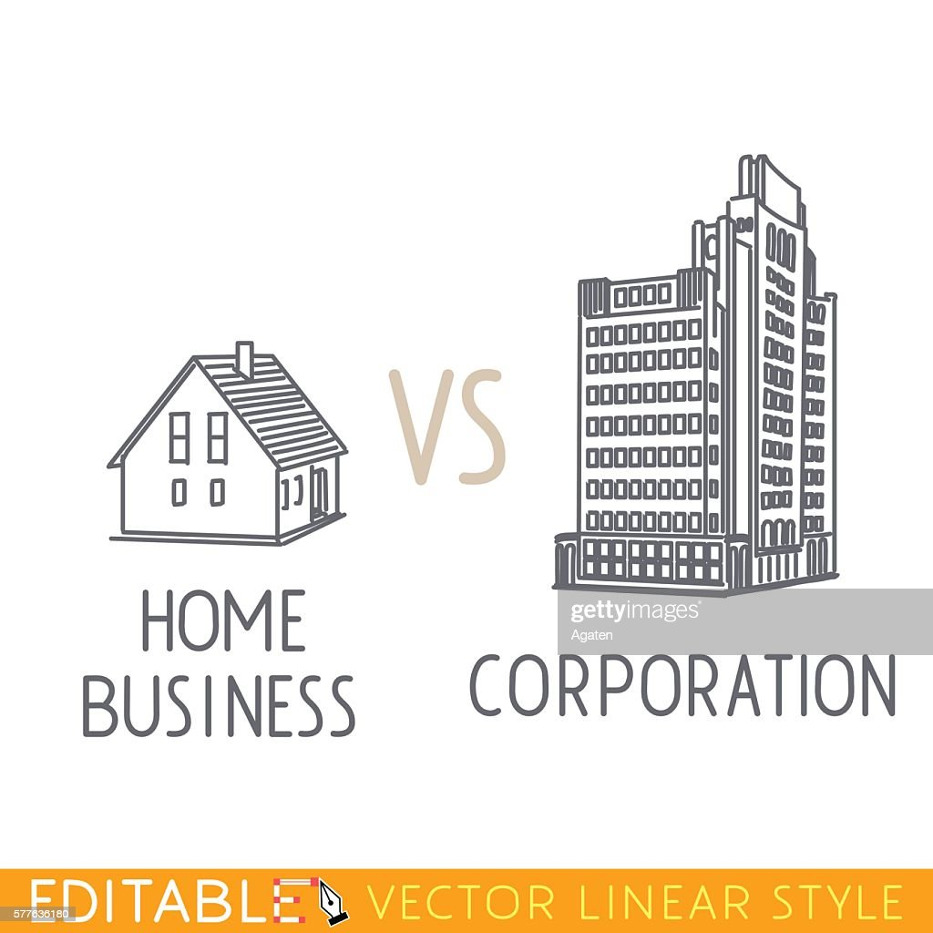 Home business vs Corporation. Buildings small company big corp. Commerce