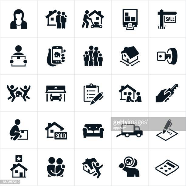 home buying icons - house stock illustrations