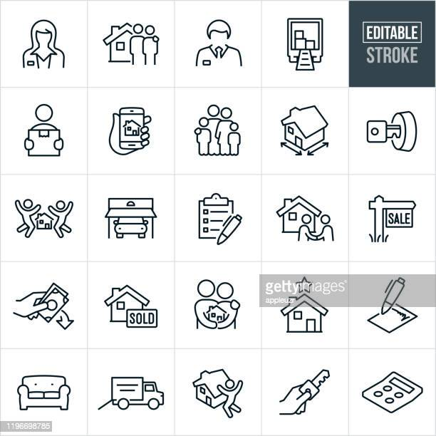 home buying thin line icons - editable stroke - mortgage loan stock illustrations