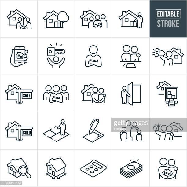 ホーム購入細線アイコン - 編集可能なストローク - 家族点のイラスト素材/クリップアート素材/マンガ素材/アイコン素材