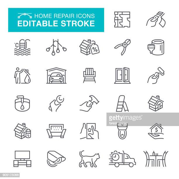 Home Construction Editable Stroke icons