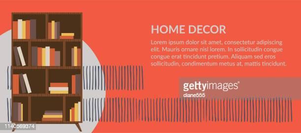 家の装飾の家具の旗 - 本棚点のイラスト素材/クリップアート素材/マンガ素材/アイコン素材