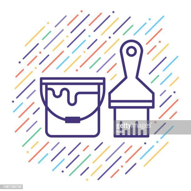 ilustraciones, imágenes clip art, dibujos animados e iconos de stock de decoración para el hogar › línea vector icono ilustración - pintores de brocha gorda