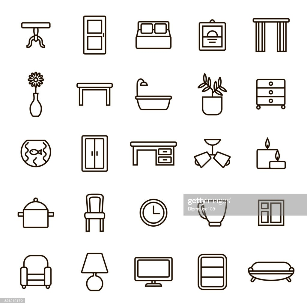 Home Decoration Signs Black Thin Line Icon Set. Vector