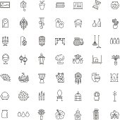 Home Decoration , vector thin line icons