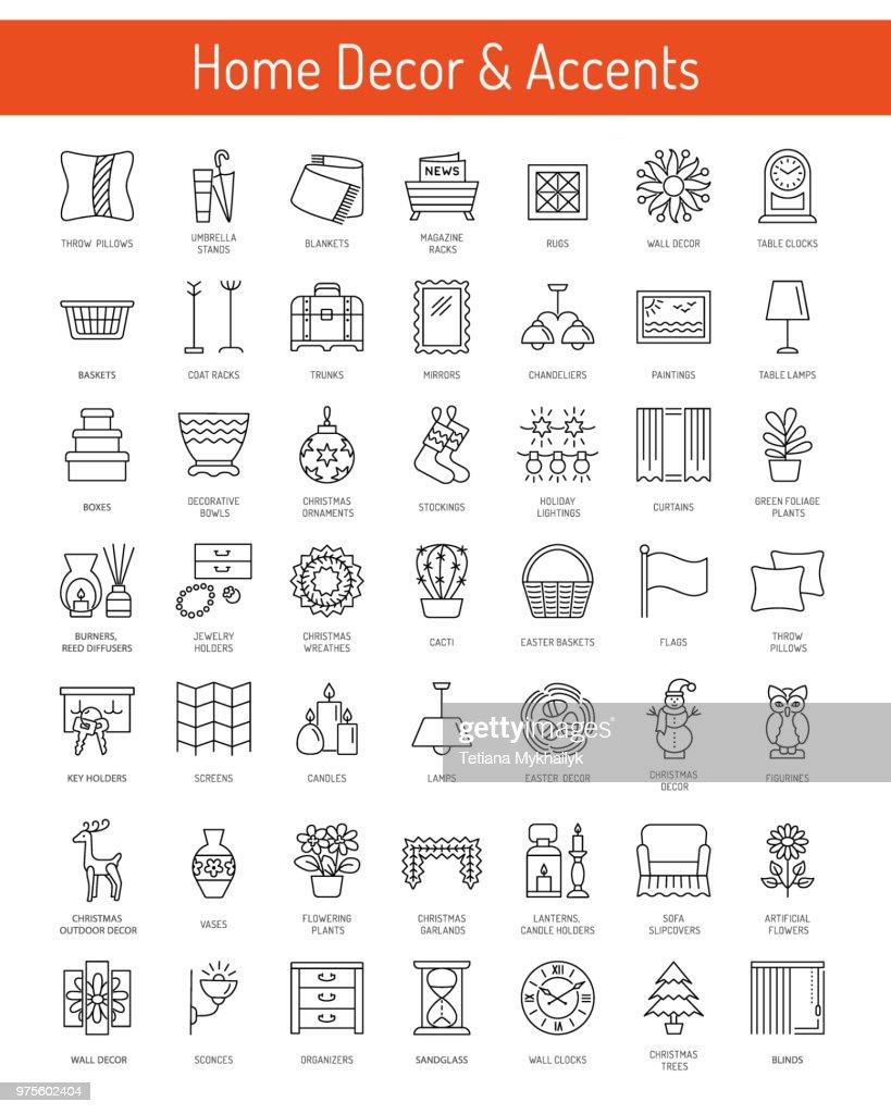 Home decorative elements & accents. Interior design. Icon collection.
