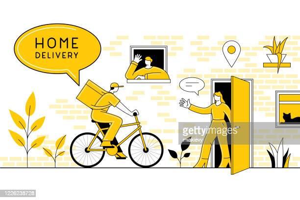illustrations, cliparts, dessins animés et icônes de concept de livraison à domicile - facteur