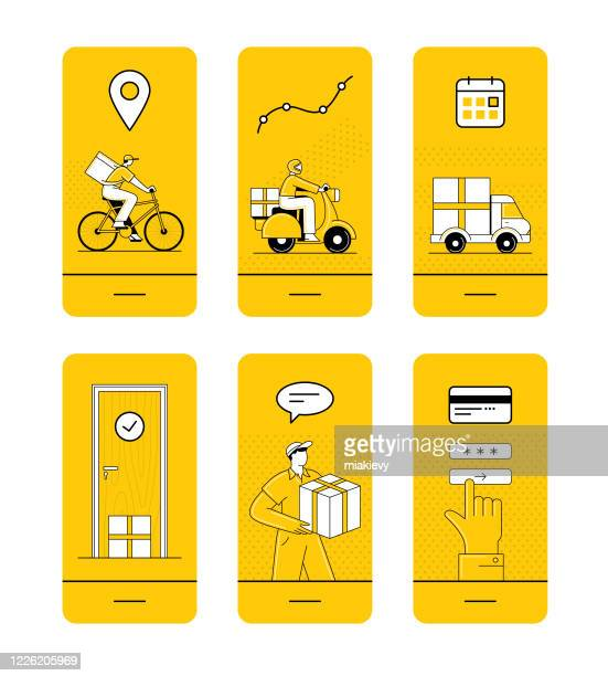home delivery set - mobile app stock illustrations