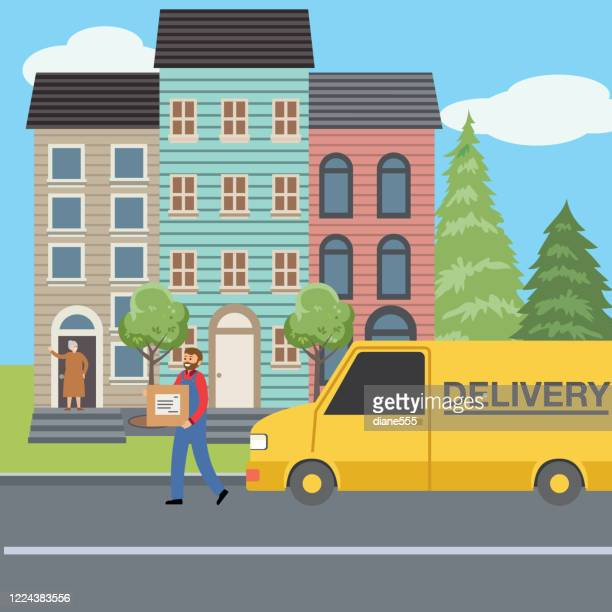 home delivery truck in front of a house - senior citizen clipart stock illustrations