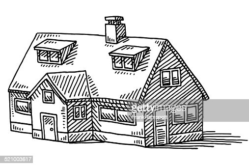 Line Art House Vector : Home detached house real estate drawing vector art getty