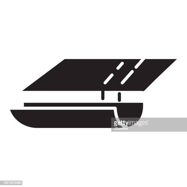 ホーム効率の側溝または盗聴アイコン - 固体100%黒塗りつぶし - 溝点のイラスト素材/クリップアート素材/マンガ素材/アイコン素材