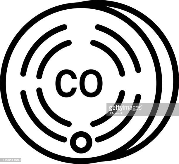 home efficiency modern carbon monoxide detector icon in thin line style - jdawnink stock illustrations