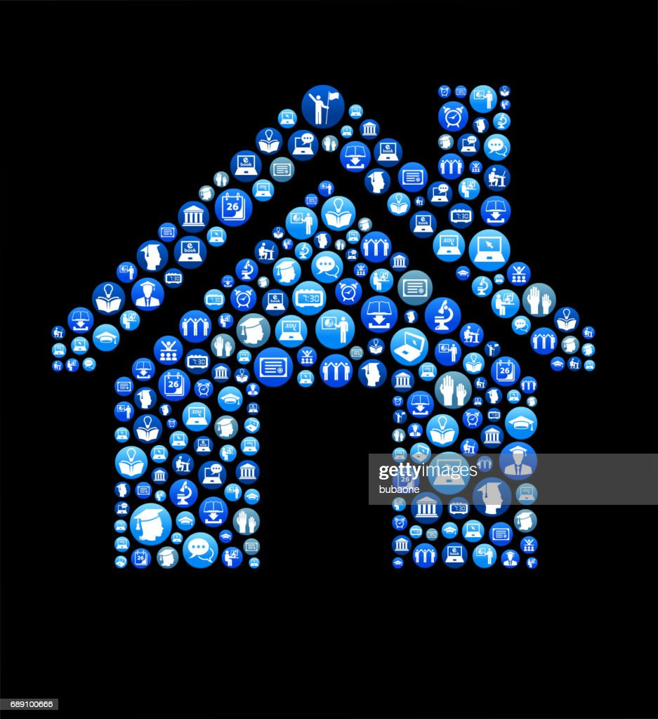 Home E-learning and College Education Blue Button Pattern : Stock Illustration
