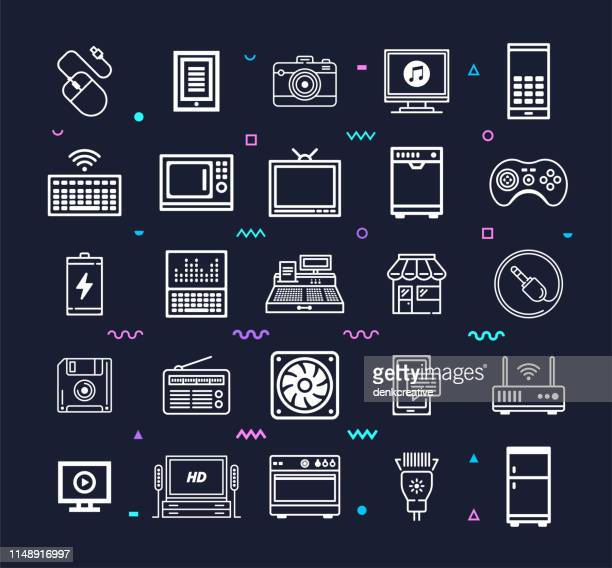 Home Electronic Components Line Style Vector Icon Set