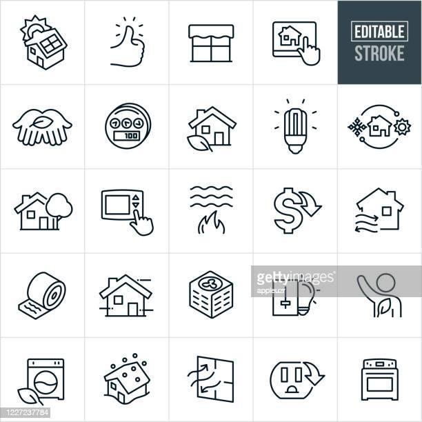 ilustrações, clipart, desenhos animados e ícones de ícones da linha fina de conservação de energia doméstica - curso editável - símbolo conceitual