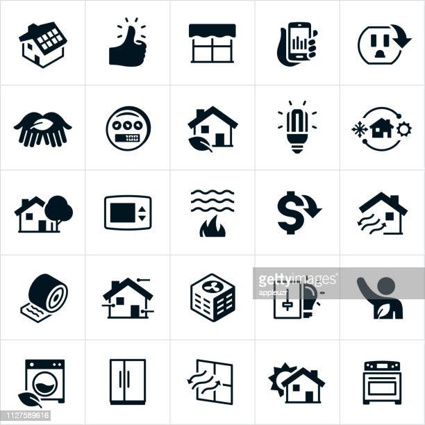 home energy efficiency and conservation icons - savings stock illustrations
