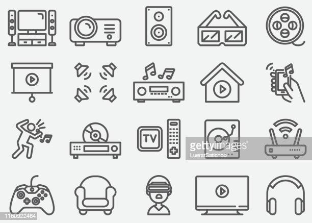 home entertainment electronics line icons - arts culture and entertainment stock illustrations