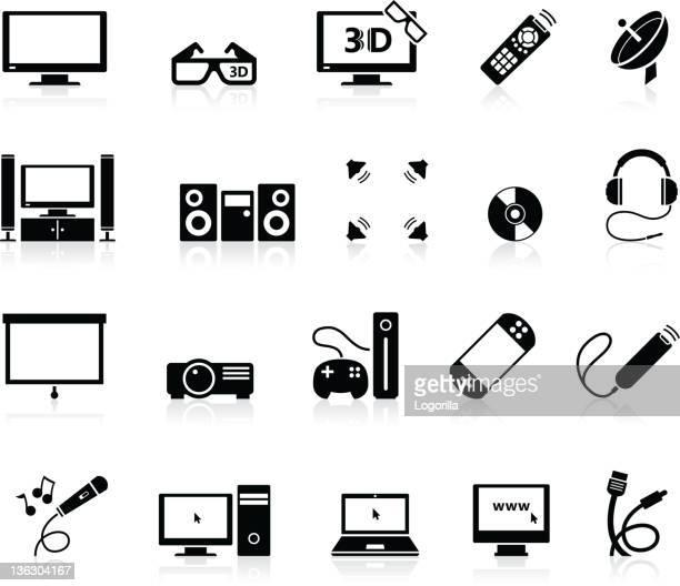 illustrazioni stock, clip art, cartoni animati e icone di tendenza di icone di svago e divertimento a casa - hi fi
