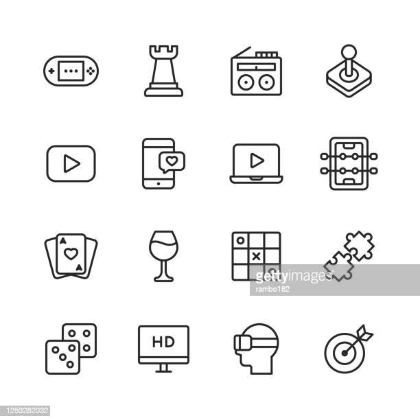 home entertainment line icons. editable stroke. pixel perfect. for mobile and web. contains such icons as - leisure games stock illustrations