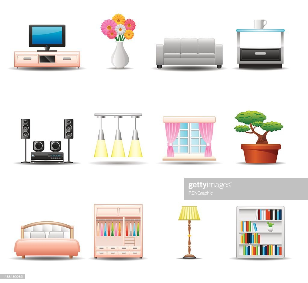 Home Equipment & Furniture Icon Set | Elegant Series