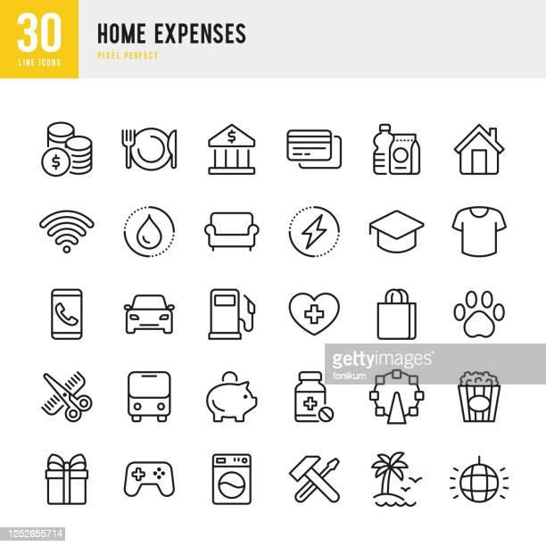 ホーム経費 - 細線ベクトルアイコンセット。ピクセルパーフェクト。セットには、ホームファイナンス、予算、クレジットカード、薬、電気、衣類、美容師、インターネット:アイコンが含ま - 美容師点のイラスト素材/クリップアート素材/マンガ素材/アイコン素材