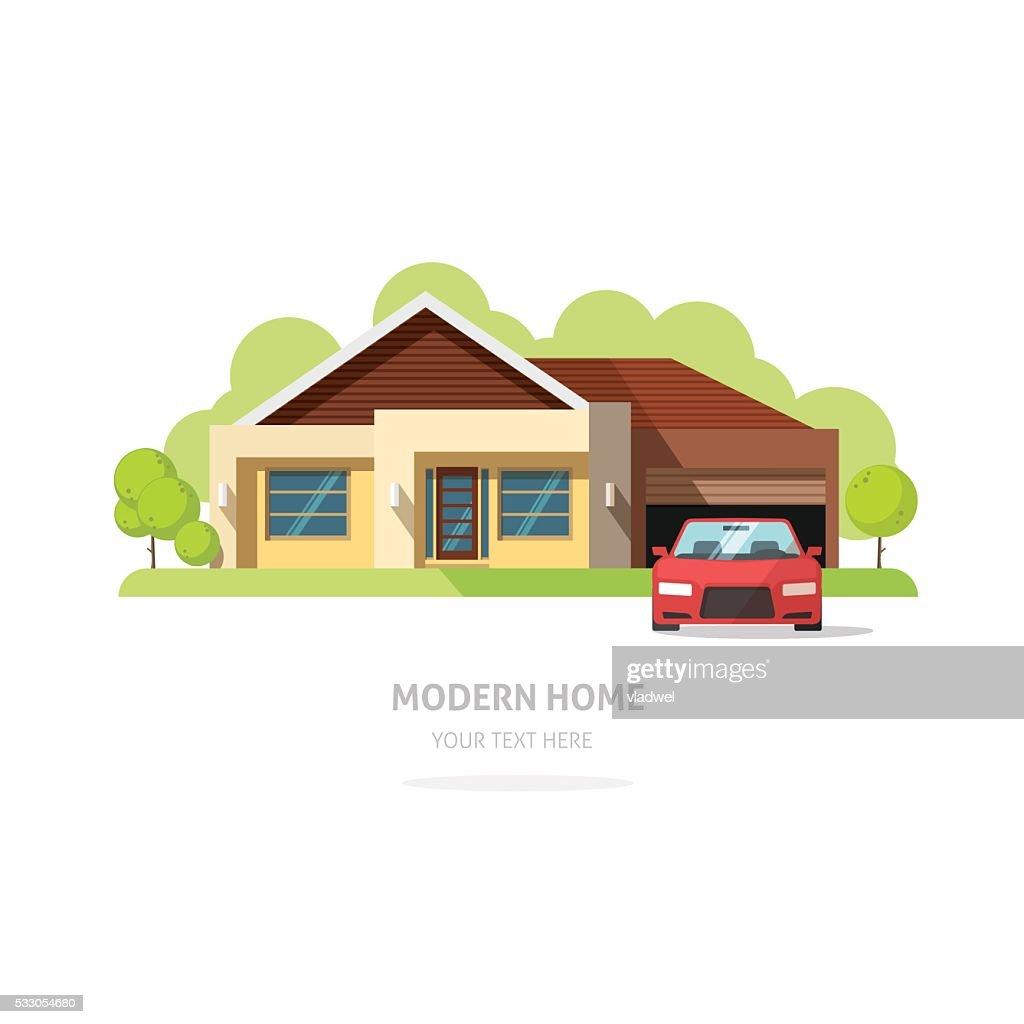 Home facade contemporary modern. American house traditional cottage vector