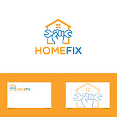 Home Fix Logo With Business Card Template