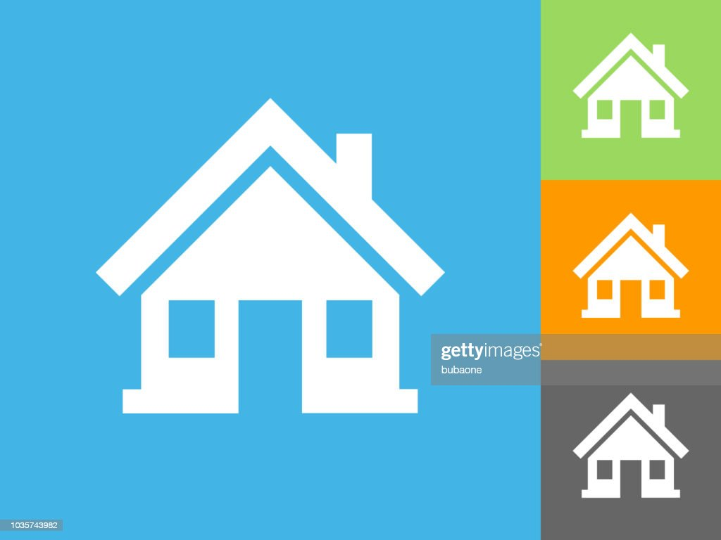 Home  Flat Icon on Blue Background : stock illustration