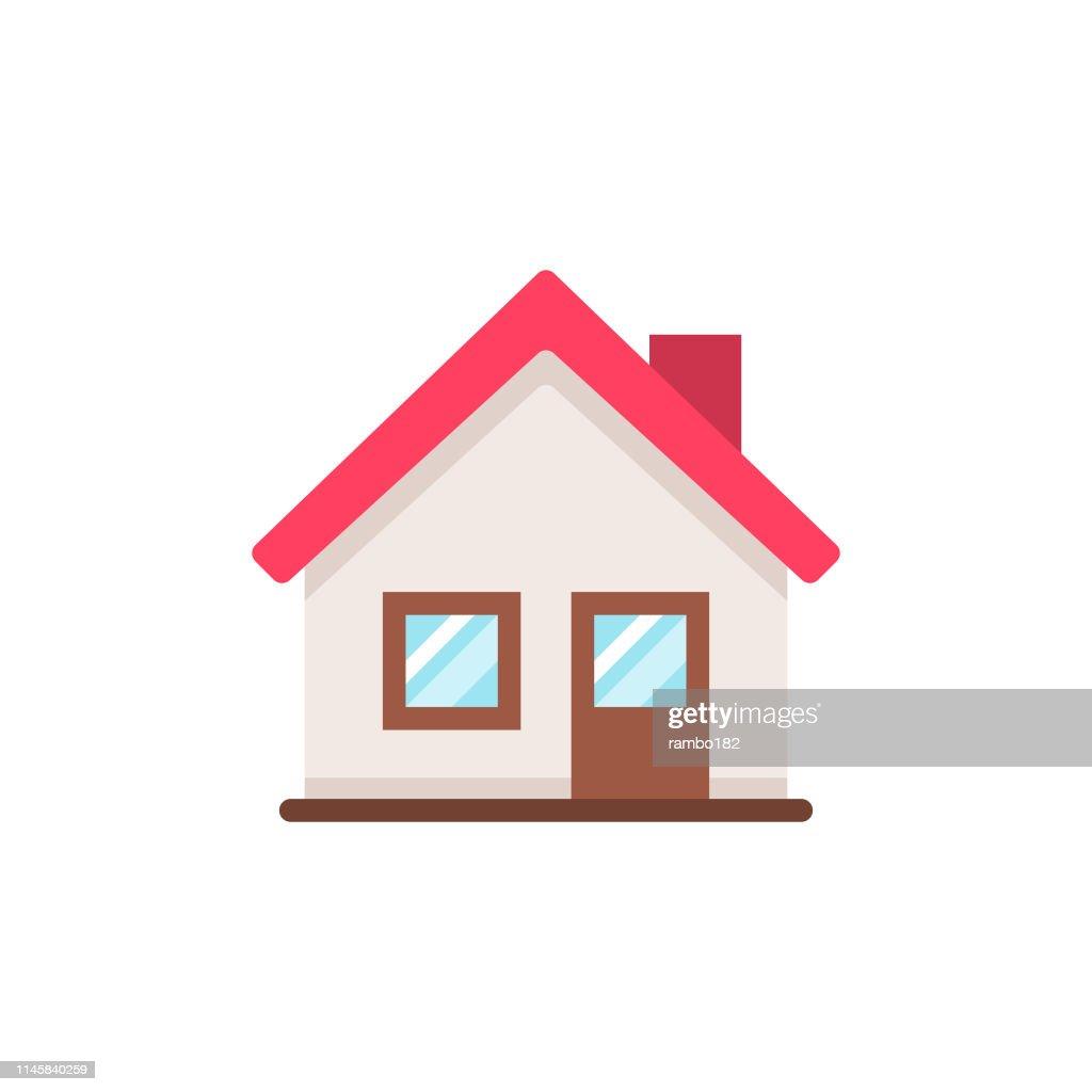 Icona home flat. Pixel Perfetto. Per dispositivi mobili e Web. : Illustrazione stock