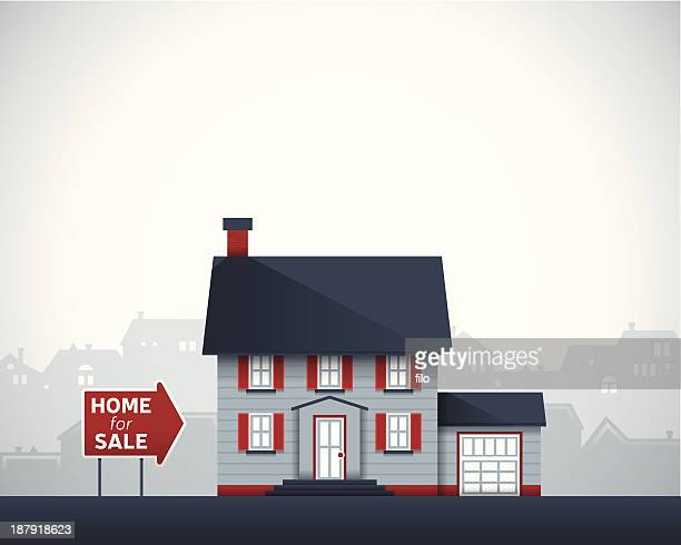 home for sale - house exterior stock illustrations, clip art, cartoons, & icons