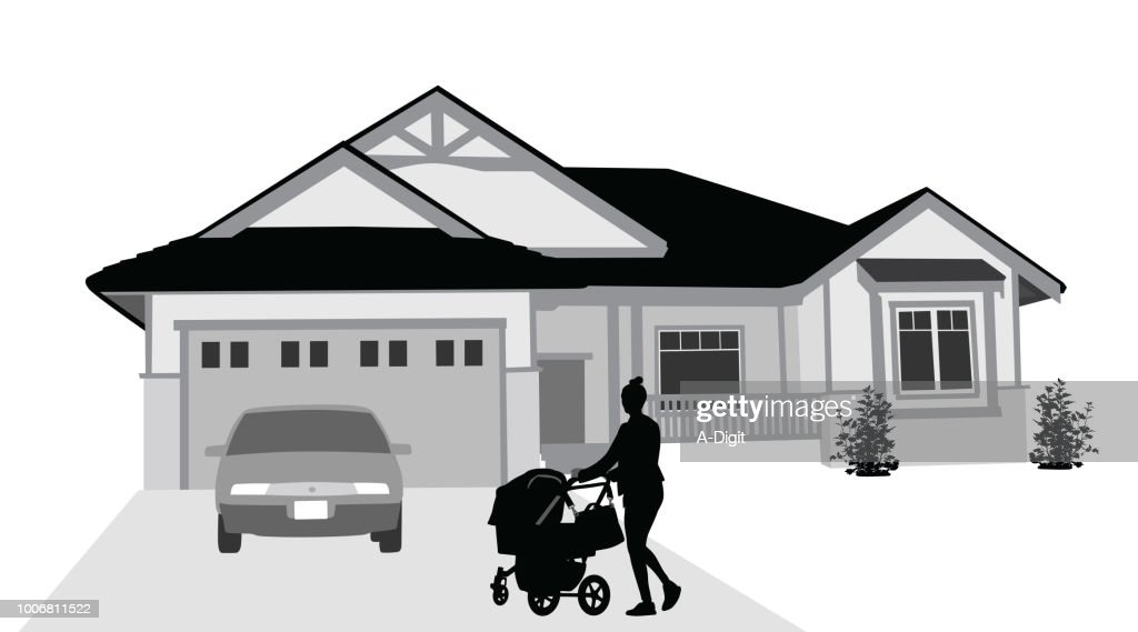 Home From A Walk : stock illustration