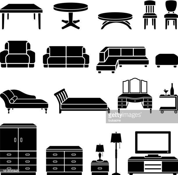 stockillustraties, clipart, cartoons en iconen met home furniture black and white royalty free vector art - ottomane