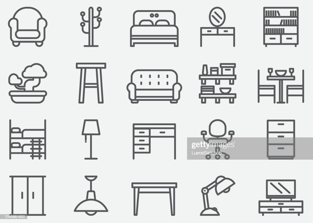 Home Furniture Line Icons : Stock Illustration