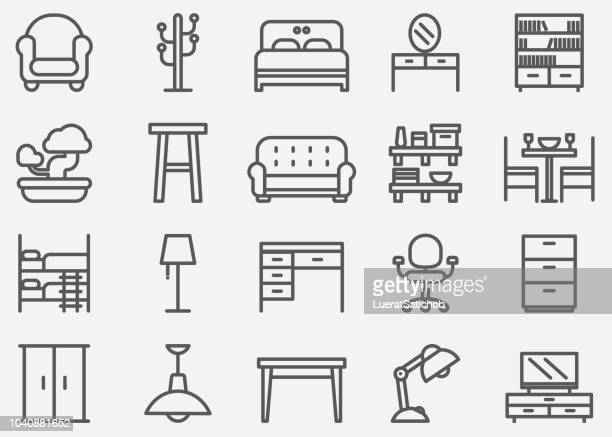 home furniture line icons - relaxation stock illustrations