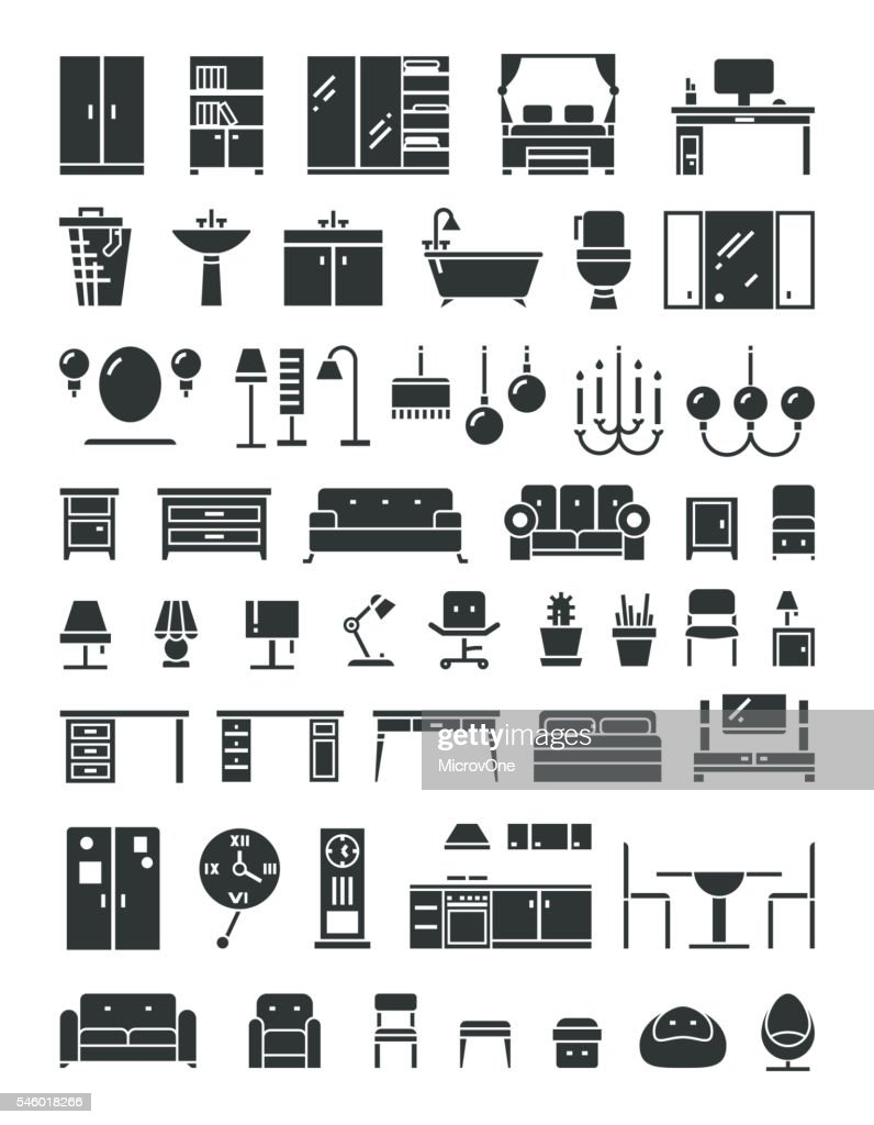 Home furniture vector icons